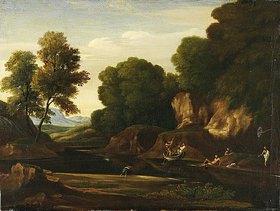 Nicolas Poussin: Landschaft mit Boot und Badenden. Um 1640 (?)