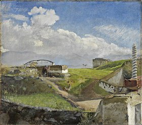 Lauritz Andersen Ring: Schleuse bei Pompeji. Ein Freilichtmaler mit Sonnenschirm