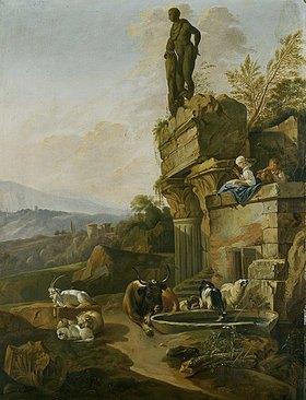 Johann Heinrich Roos: Landschaft mit Tempelruine in Abendstimmung