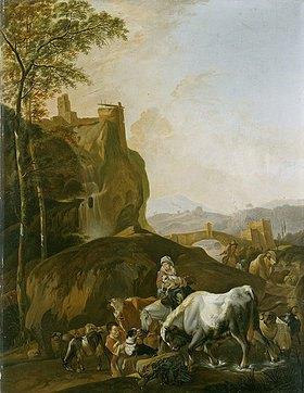 Johann Heinrich Roos: Landschaft in Morgenstimmung