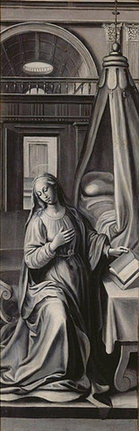Marten de Vos I.: Maria bei der Vekündigung (Flügelaltar, Außenflügel rechts). Nach 1569 (siehe auch Bildnummer 35458)