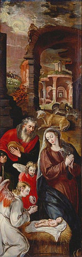 Marten de Vos I.: Geburt Christi (Flügelaltar, Innenflügel links). Nach 1569 (siehe auch Bildnummern 35461 u. 35462)