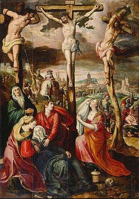 Marten de Vos I.: Kreuzigung Christi (Flügelaltar, Mitteltafel). Nach 1569 (siehe auch Bildnummern 35460 u. 35462)