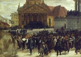 Adolph von Menzel: Die Aufbahrung der Gefallenen der Märzrevolution in Berlin