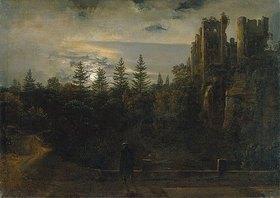 Johan Christian Clausen Dahl: Der Lohmener Grund im Mondschein (Mit der Ruine von Tharandt)