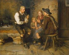 Franz von Defregger: Bauernszene am Herd