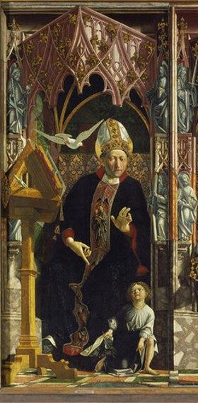 Michael Pacher: Kirchenväteraltar. Um 1480. Mitteltafel, linke Hälfte, Der hl. Augustinus