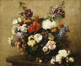 Henri de Fantin-Latour: Strauß aus verschiedenen Blumen und Rosen auf einem Tisch