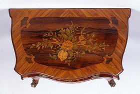 SMALL INLAID COMMODE WITH TWO DRAWERS