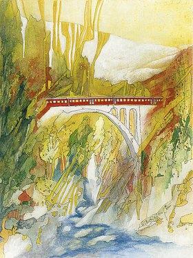 Annette Bartusch-Goger: Viadukt mit Bernina Express, Schweiz