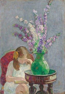Henri Lebasque: Lesendes Mädchen mit Blumenvase