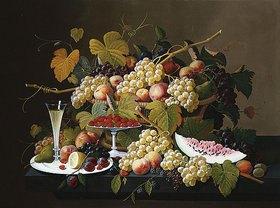 Severin Roesen: Stillleben mit Früchten und Sektglas