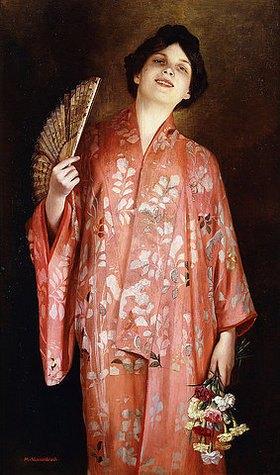 Max Nonnenbruch: Junge Frau in einem roten Kimono