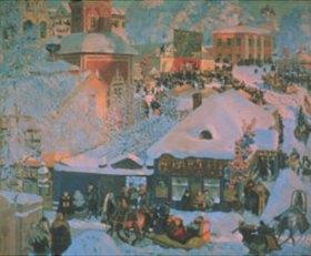 Boris Michailowitsch Kustodiev: Belebte russische Stadt im Winter