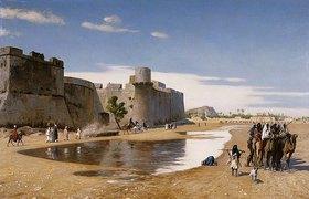Jean-Léon Gérome: Eine Karawane vor einer Festung