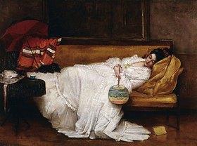 Alfred Stevens: Schlafende junge Frau mit japanischem Fächer