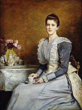 Sir John Everett Millais: Mrs. Joseph Chamberlain am Kaffeetisch