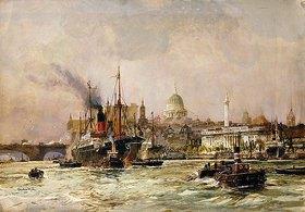 Charles Dixon: Schiffverkehr auf der Themse, im Hintergrund St. Paul's