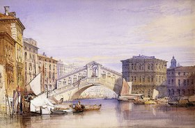 William Callow: Die Rialto Brücke in Venedig