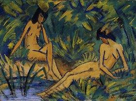 Otto Mueller: Sitzende Mädchen am Wasser
