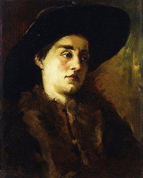 Wilhelm Trübner: Bildnis einer Dame mit Pelzkragen und schwarzem Hut