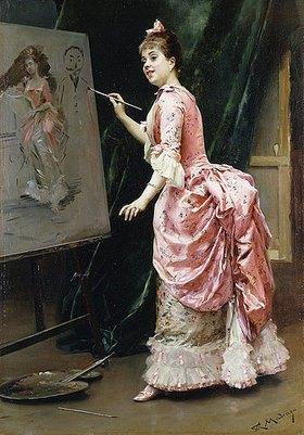 Raimundo de Madrazo y Garreta: Im Atelier. (Model für das entstehende Gemälde war Aline Masson, die selbst zum Pinsel greift und eine Karikatur des Künstlers malt)