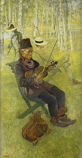 Carl Larsson: Der Lappe. 1910 (Studie für 'Zwischen weißen Baumstämmen'. Dargestellt sind die Frau des Künstlers und der Sohn Pontus)