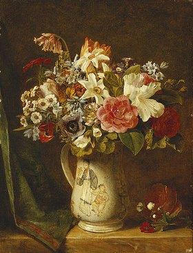 Alfred Morgan: Rosen, Osterglocken und andere Blumen in einer Vase