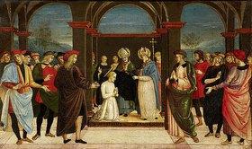 Umbrischer um 1500 (Perugino-Nachfolge) Meister: Die Einkleidung des heiligen Augustinus durch den heiligen Ambrosius