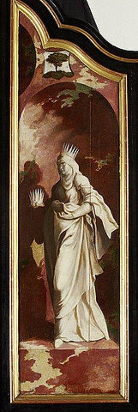 Nordniederländischer Meister: Triptychon mit der Kreuzigung Christi, Heiligen und Stifterfamilie. Rechter Außenflügel: Heilige Elisabeth