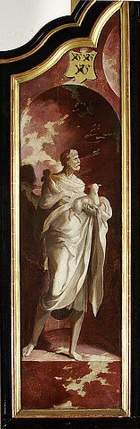 Nordniederländischer Meister: Triptychon mit der Kreuzigung Christi, Heiligen und Stifterfamilie. Linker Außenflügel: Johannes der Täufer