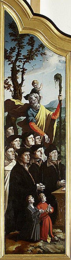 Nordniederländischer Meister: Triptychon mit der Kreuzigung Christi, Heiligen und Stifterfamilie. Linker Innenflügel: Stifter mit dem Heiligen Christophorus