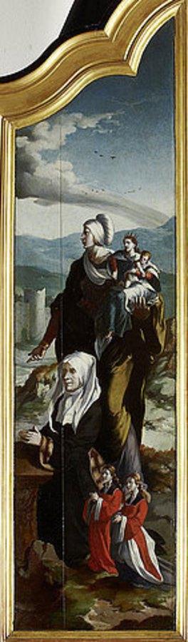 Nordniederländischer Meister: Triptychon mit der Kreuzigung Christi, Heiligen und Stifterfamilie. Rechter Innenflügel: Stifterin mit der Heiligen Ann