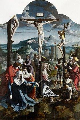 Nordniederländischer Meister: Triptychon mit der Kreuzigung Christi, Heiligen und Stifterfamilie. Mitteltafel: Kreuzigung Christi