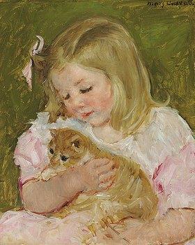 Mary Cassatt: Sara, eine Katze haltend