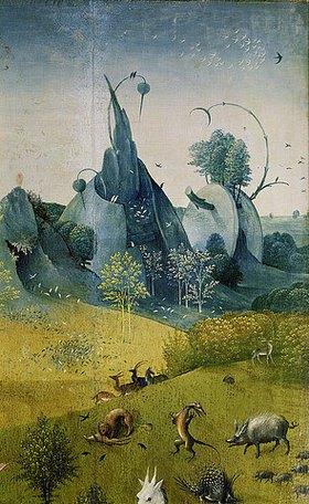 Hieronymus Bosch: Garten der Lüste. Detail des linken Seitenflügels: Wildschwein. (siehe Bildnummer 17098)