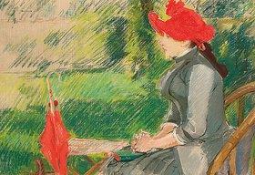 Eva Gonzales: Die Lektüre im Park (Frau mit rotem Hut)
