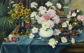 Anna Knittel: Pfingstrosen, Rosen und andere Blumen in Vasen
