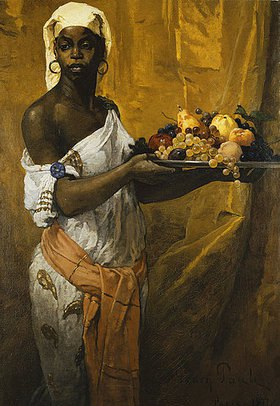 Georg Pauli: Eine schwarze Dienerin, eine Obstschale haltend