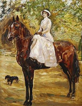 Max Slevogt: Dame im weißen Reitkleid zu Pferde