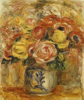 Auguste Renoir: Blumenstrauß in einer blau-weißen Vase