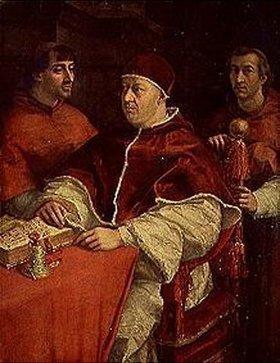Raffael (Raffaello Sanzio): Papst Leo X. mit den Kardinälen Giulio de Medici und Luigi Rossi