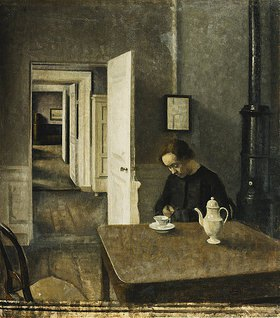 Vilhelm Hammershoi: Interieur, Strandgade 25. 1915 (Es handelt sich um das letzte Werk von Hammershoi und zeigt Ida, die Frau des Künstlers.)