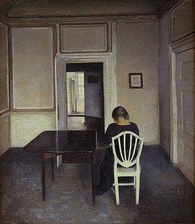 Vilhelm Hammershoi: Interieur mit Frau auf einem weißen Stuhl