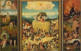 Hieronymus Bosch: Triptychon, Der Heuwagen. (Totale, geöffnet)