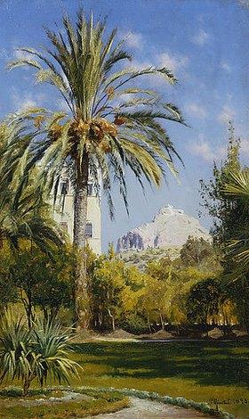 Peder Moensted: Die Gärten des königlichen Palastes in Athen mit Blick auf den Lykavittos Hügel