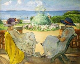 Henri Lebasque: Zwei junge Frauen auf einer Terrasse am Meer