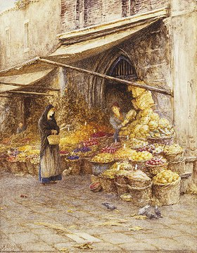 Helen Allingham: Ein Marktstand an Fuße des Campanile von San Giovanni Elemosinario in Venedig