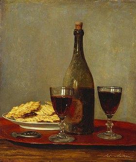 Albert Anker: Stillleben mit zwei Rotweingläsern, einer Flasche, einem Korkenzieher und einem Teller mit Gebäck