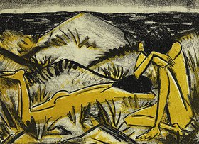 Otto Mueller: Zwei Mädchen in den Dünen, Sylt